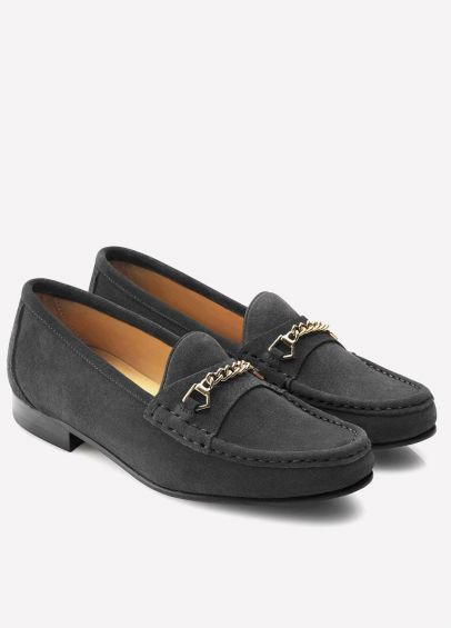 Fairfax & Favor Ladies Suede Apsley Loafers - Grey