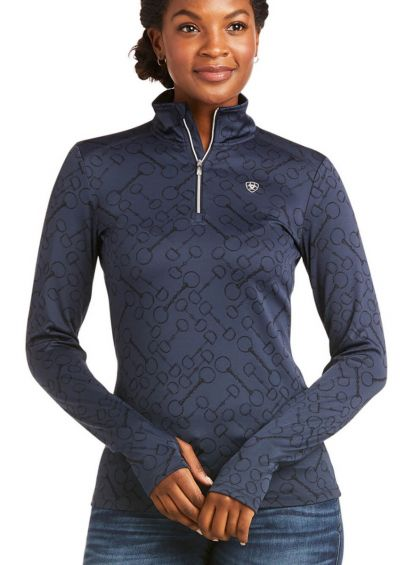 Ariat Womens Prophecy 1/4 Zip Long Sleeve Base Layer - Navy