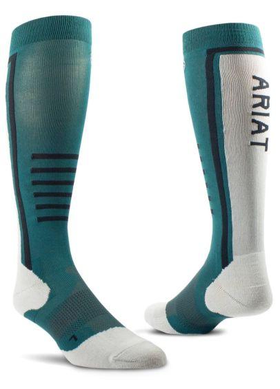 AriatTEK Slimline Performance Socks - Eurasian Teal/Sea Salt
