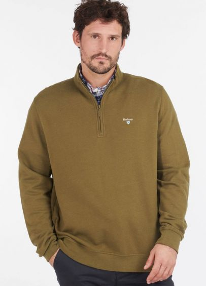 Barbour Bankside Half Zip Sweatshirt - Dark Olive