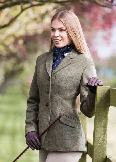 Equetech Ladies Claydon Tweed Riding Jacket - Green