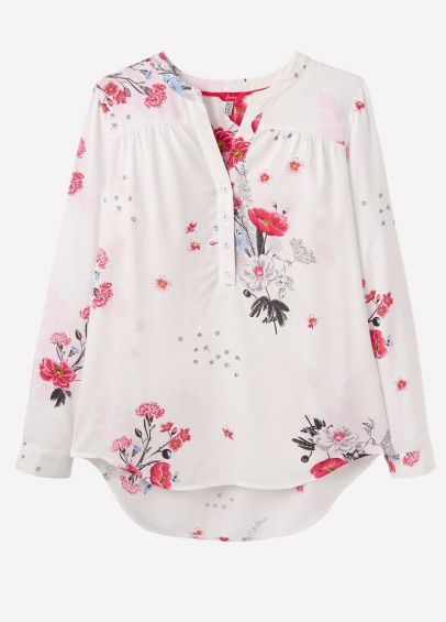 Joules Ladies Rosamund Pop Over Blouse - Cream Floral