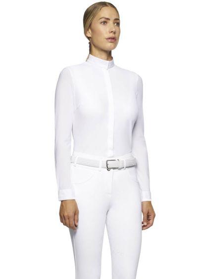 Cavalleria Toscana Elegant Embroidery Show Shirt - White
