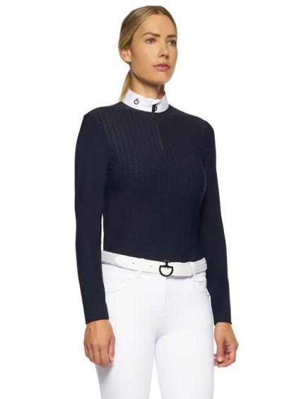 Cavalleria Toscana Long Sleeve Competition Polo Shirt - Navy