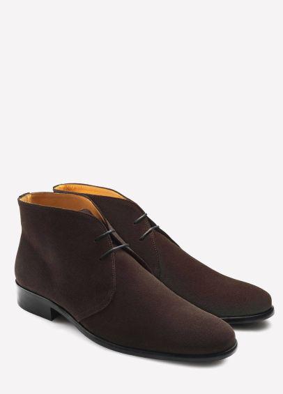 Fairfax & Favor Mens Suede Desert Boots - Chocolate