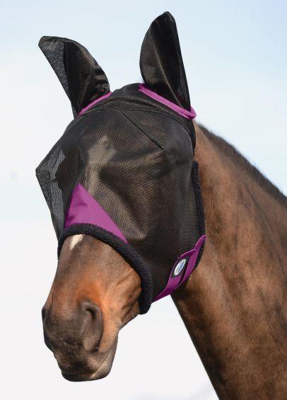 Weatherbeeta ComFiTec Durable Mesh Fly Mask with Ears - Black/Purple
