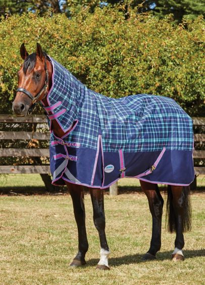 Weatherbeeta ComFiTec Plus Dynamic Medium Combo Turnout - Navy/Light Blue/Purple Plaid