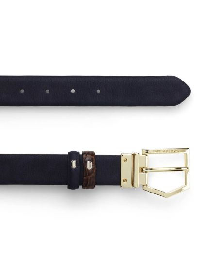 Fairfax & Favor Blickling Belt - Navy/Brown Croc