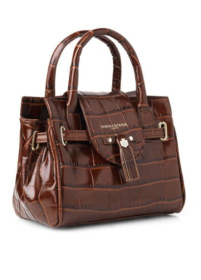 Fairfax & Favor Mini Windsor Leather Handbag - Conker