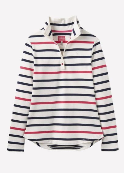 Joules Ladies Fairdale Sweatshirt - Navy Raspberry Stripe