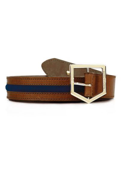 Fairfax & Favor Hampton Leather Belt - Tan/Navy