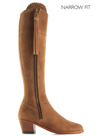 Fairfax & Favor Heeled Regina Narrow Fit Suede Boot - Tan