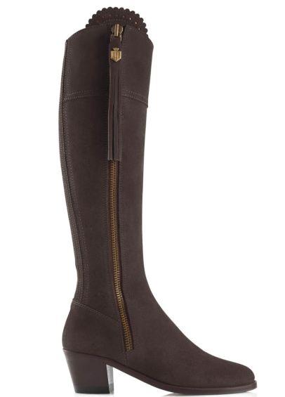 Fairfax & Favor Heeled Regina Suede Boot - Chocolate