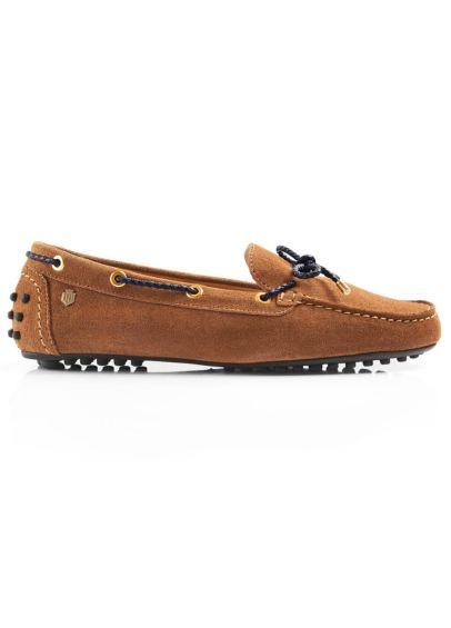 Fairfax & Favor Suede Henley Driving Shoe - Tan/Navy