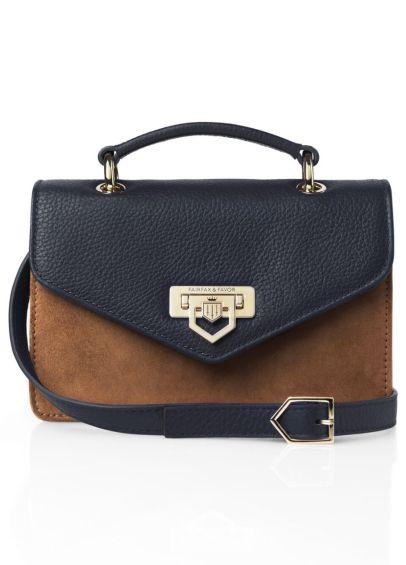 Fairfax & Favor Mini Loxley Cross Body Bag- Tan/Navy