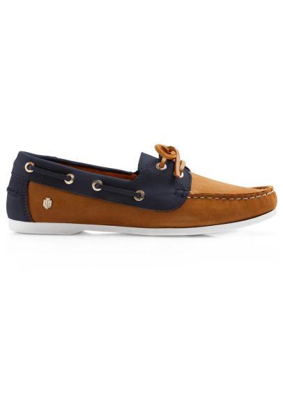 Fairfax & Favor Salcombe Deck Shoe - Tan/Navy
