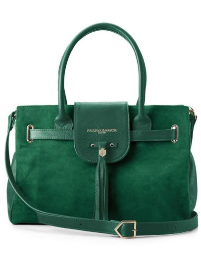 Fairfax & Favor Windsor Leather & Suede Handbag - Emerald