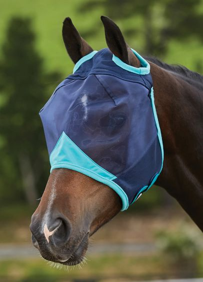 Weatherbeeta ComFiTec Fine Mesh Fly Mask without Ears - Navy/Turquoise