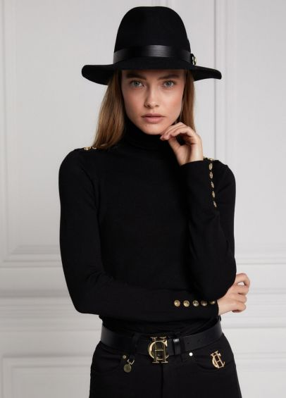 Holland Cooper Buttoned Knit Roll Neck - Black