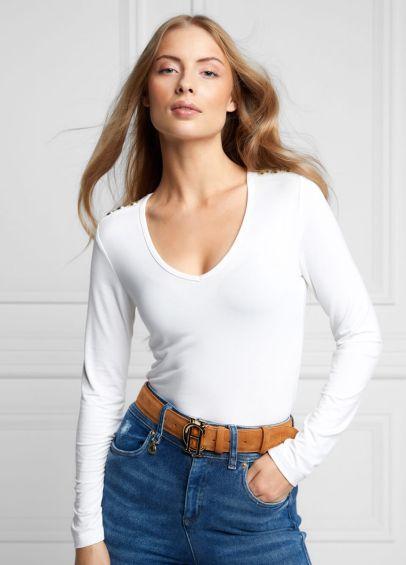 Holland Cooper Long Sleeve Vee Neck Tee - White