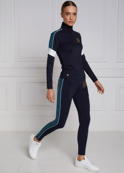 Holland Cooper Tour Panel Leggings - Ink Navy/Turquoise