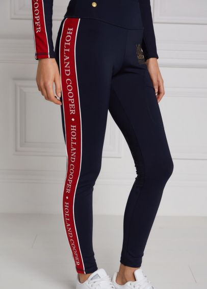 Holland Cooper Tour Panel Leggings - Ink Navy/Red