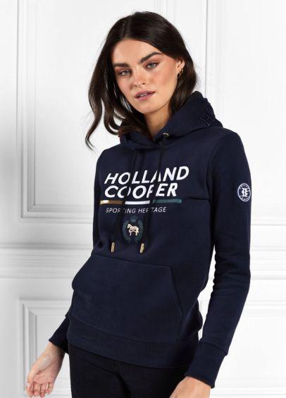 Holland Cooper Tri Colour Crest Hoodie - Ink Navy