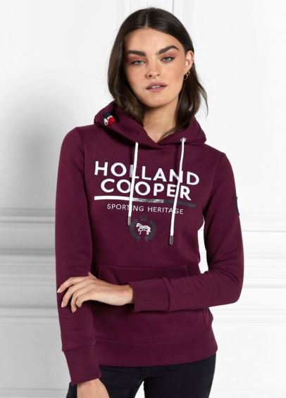 Holland Cooper Tri Colour Crest Hoodie - Mulberry