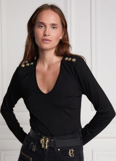 Holland Cooper Long Sleeve Vee Neck Tee - Black