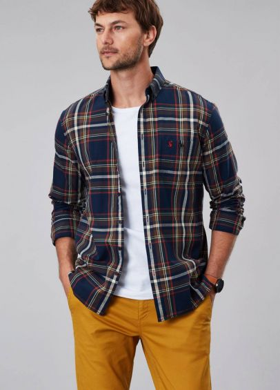 Joules Mens Hewitt Long Sleeve Classic Fit Shirt - Navy Orange Check