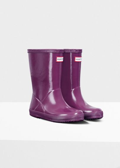 Hunter Kids First Gloss Wellingtons - Violet