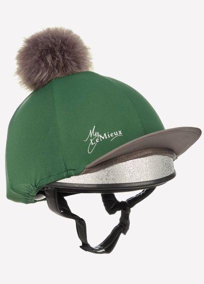 Green riding hat silk with pom pom.