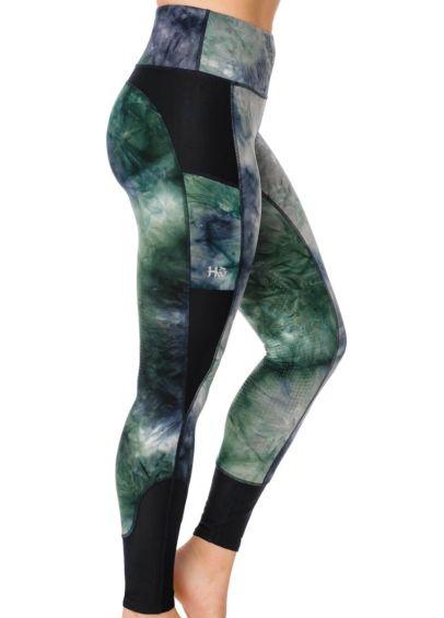 Horseware Silicon Riding Tights - Green/Navy Tie Dye