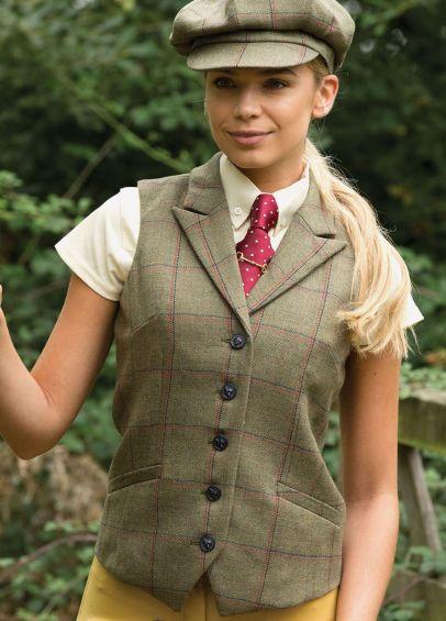 Equetech Ladies Launton Tweed Lapel Waistcoat - Green