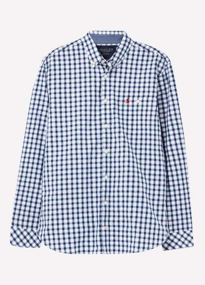 Joules Mens Hewney Shirt - Blue Herringbone Check