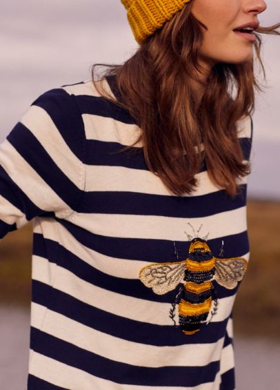 Joules Miranda Luxe Jumper - Navy Cream Stripe