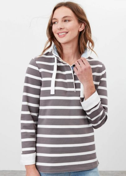 Joules Saunton Funnel Neck Sweatshirt - Grey/Cream Stripe