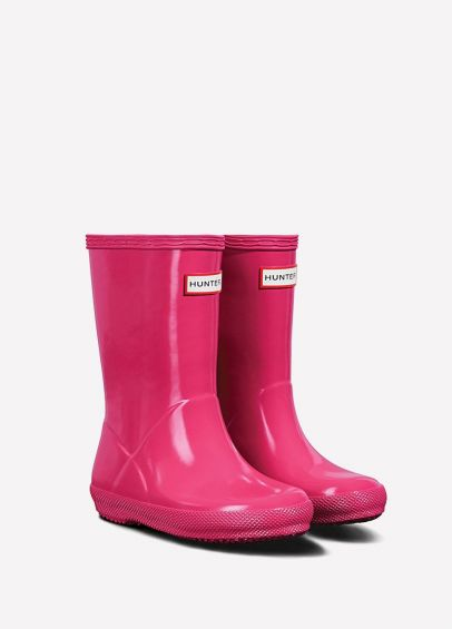 Hunter Kids First Gloss Wellingtons - Bright Pink
