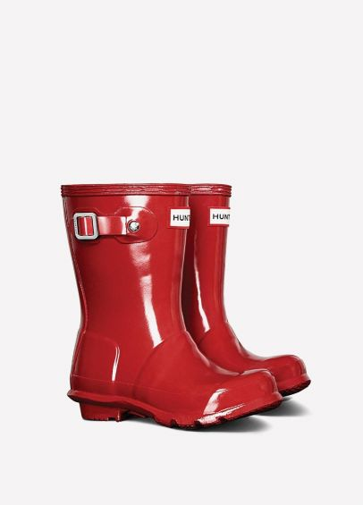 Childs Hunter Gloss Wellingtons - Military Red