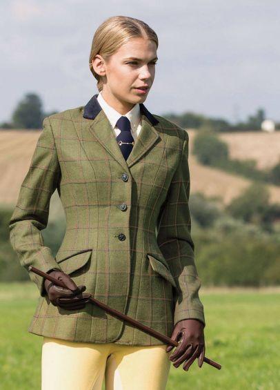 Equetech Ladies Launton Deluxe Tweed Riding Jacket - Green