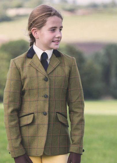Equetech Junior Launton Deluxe Tweed Riding Jacket - Green