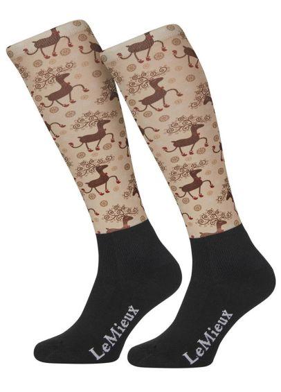 LeMieux Footsie Socks - Prancing Reindeer - PRE ORDER
