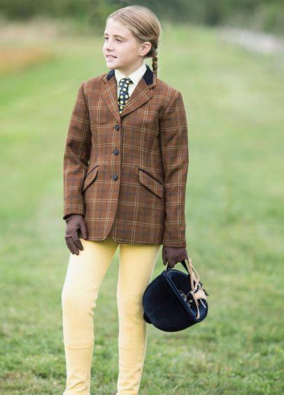 Equetech Junior Marlow Deluxe Tweed Riding Jacket - Brown