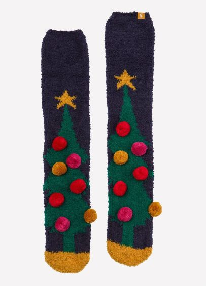 Joules Fabulously Fluffy Socks - Navy Christmas Tree