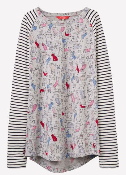 Joules Junior MishMash Jersey Top - Grey Bulldog