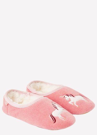 Joules Junior Slippet Felt Mule Slippers - Pink Unicorn