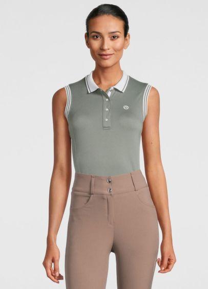 PS of Sweden Minna Sleeveless Polo Shirt - Thyme