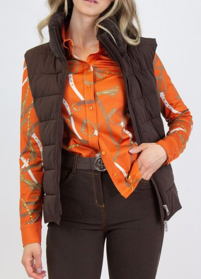 PS of Sweden Chrissy Padded Vest - Coffee