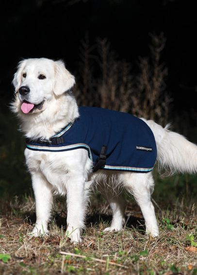 Rambo Waterproof Fleece Dog Rug - Navy/Beige/Baby Blue