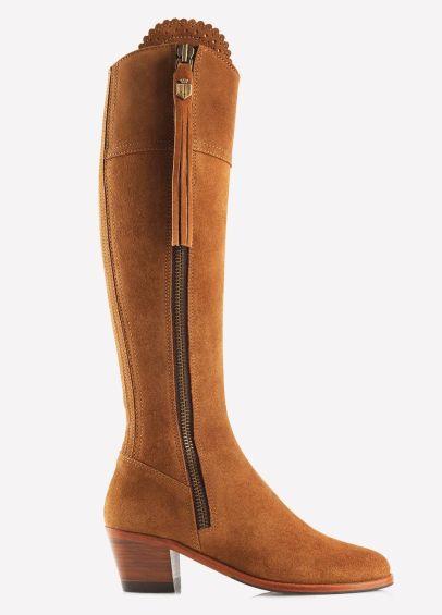 Fairfax & Favor Ladies Suede Heeled Regina Boots - Tan